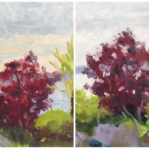 Esplanade Apunte 1 & 2, oil on panels, 8 x 10 inches each, copyright ©2019