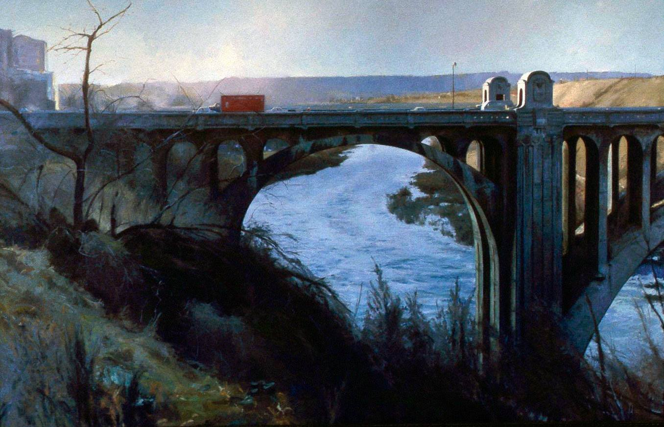 Monroe Street Bridge, oil on canvas, 68 X 105 inches, copyright ©1984