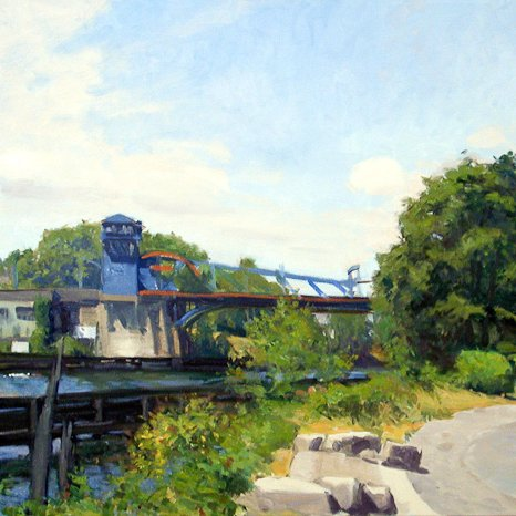 Fremont Bridge II, oil on canvas, 30X48 in, copyright ©2002