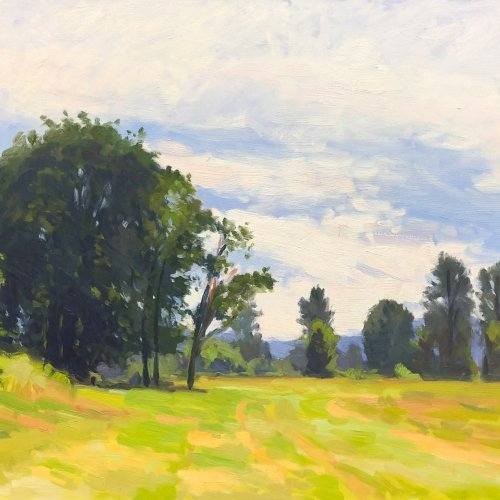 Grazing Field, oil on panel, 18 x 24 inches, copyright ©2005