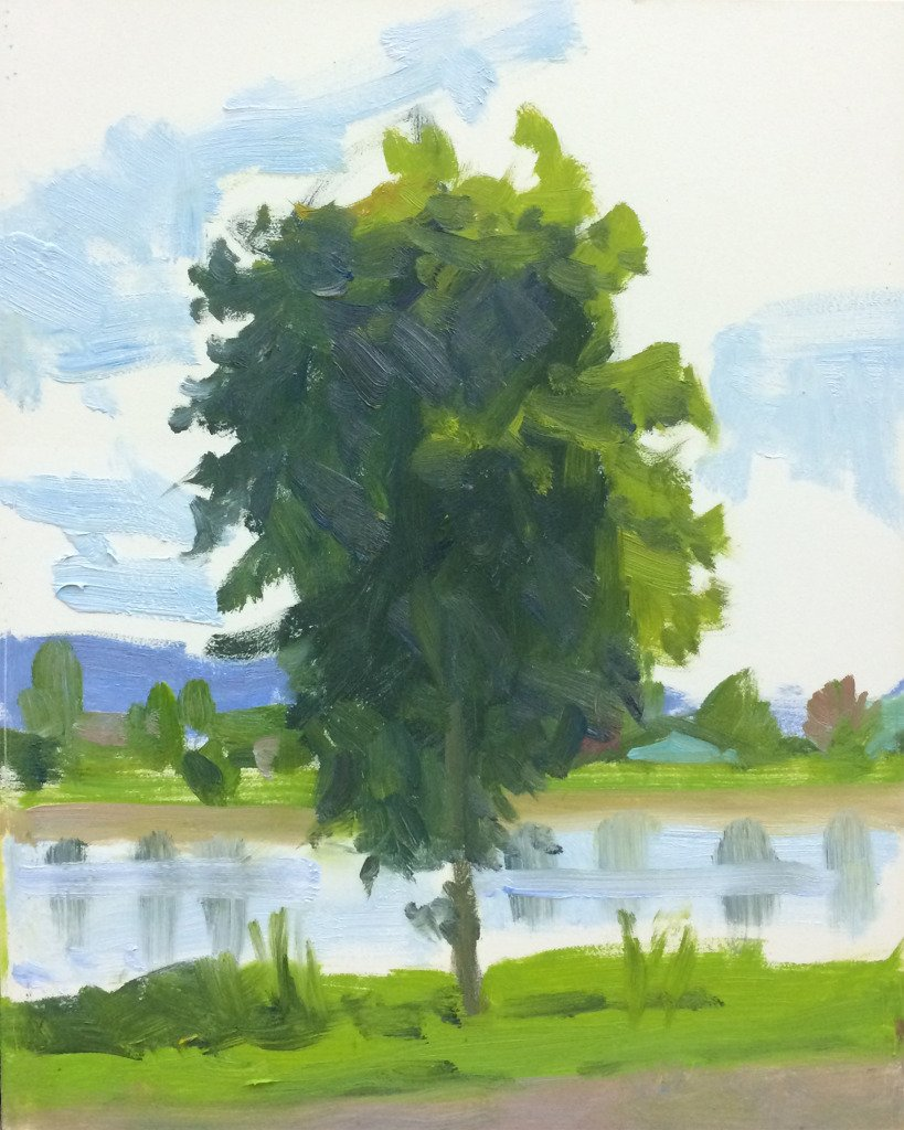 Tye Lake, Monroe, oil on panel, 10 x 8 inches, copyright ©2014