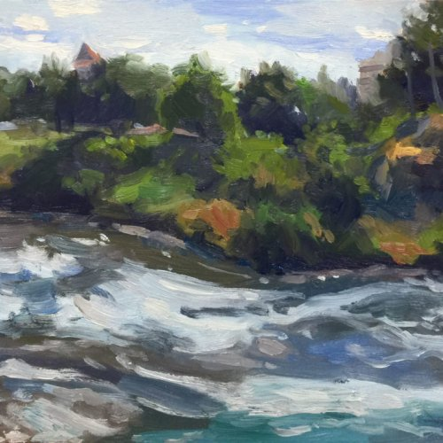 Riverfront Park Apunte, oil on panel, 9 x 12 inches, copyright ©2017