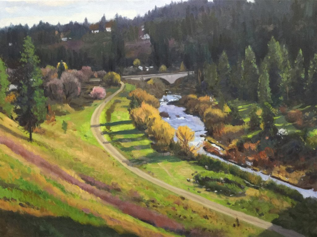 Latah Creek Spring, oil on canvas, 30 x 40 inches, work in progress copyright ©2015