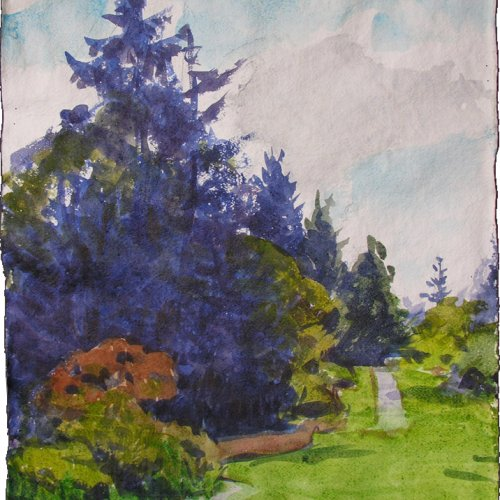 Azalea Way, watercolor, 14 x 19.5 inches, copyright ©2009