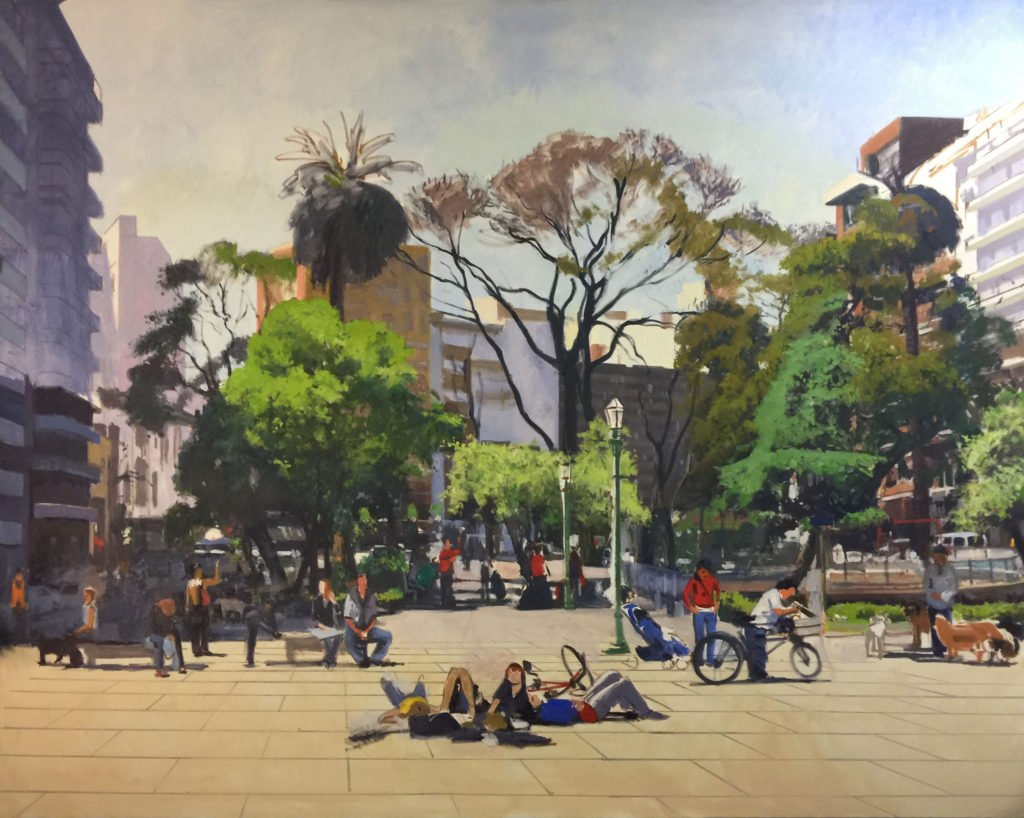 Plaza Guemes, oil on canvas, 76 x 96 inches, work in progress copyright ©2016