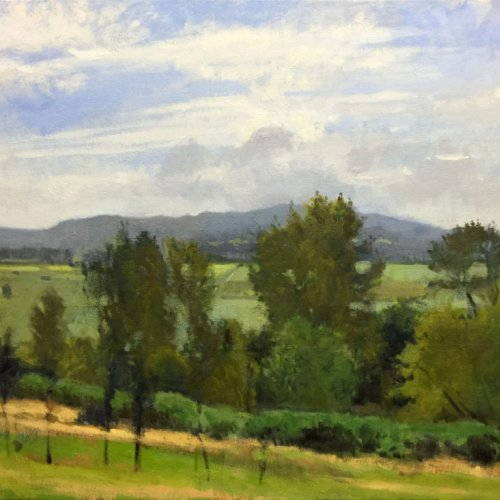 Snohomish Valley, End Of Summer, oil on canvas, 30 x 40 inches, work in progress copyright ©2016
