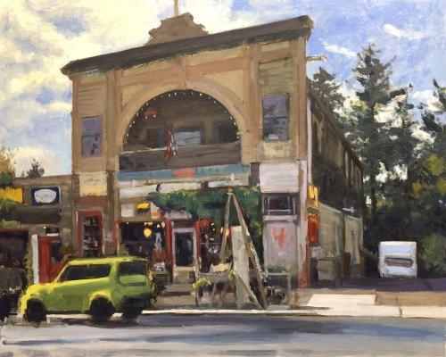 The Old Junk Store, oil on panel, 24 x 30 inches, work in progress copyright ©2018