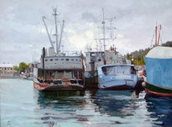 Fishermen's Terminal I, oil on canvas, 24 X 32 inches, copyright ©2001