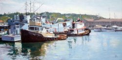 Fishermans Terminal II, oil on panel, 18 X 36 inches, copyright ©2001