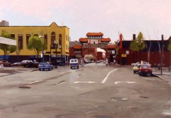 Chinatown, oil on canvas, 25 X 36 inches, copyright ©1991