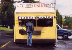 Mike At Rosie's, oil on canvas, size unknown, copyright ©1991