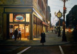 Open Late (Elliott Bay Book Company), oil on canvas, 41 X 59 inches, copyright ©1988