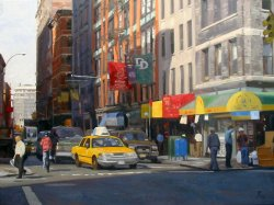 On The Corner II, oil on canvas, 36 X 48 inches, copyright ©2002