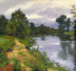 Bend In The River, oil on canvas, 30 x 32 inches, copyright ©2010