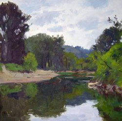 Small Bend In The River, oil on panel, 12 X 12 inches, copyright ©2000