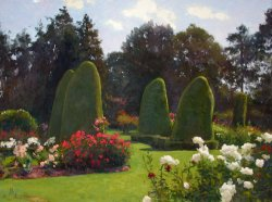 Rose Garden, Woodland Park, oil on canvas, 36 X 48 inches, copyright ©2004