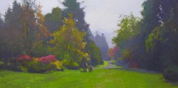 Azalea Way, Dusk, oil on canvas. 18 X 36 inches, copyright ©2010