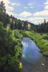 Near The Mouth Of Latah Creek, oil on panel, 36 x 24 inches, copyright ©2017