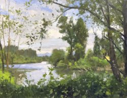 Snohomish River at Rotary Park, oil on canvas, 18.5 x 24 inches, copyright ©2018